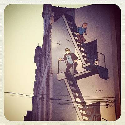 Comics Wall Art - Photograph - Life Size Tintin Cartoon Strip On The by Marce HH