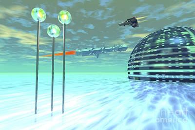 Digital Art - Life Under Domes On An Alien Waterworld by Corey Ford