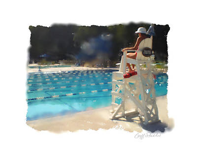 Lifeguard At Tosa Pool Art Print by Geoff Strehlow