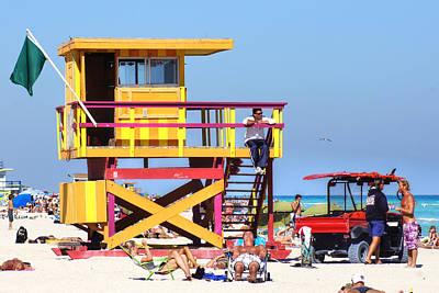 Lifeguard Hut Art Print by Dieter  Lesche