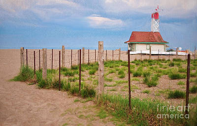 Lifeguard Hut Seen Through Fence Art Print