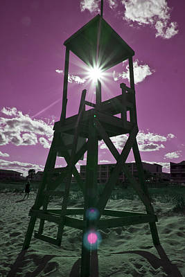 Tower Digital Art - Lifeguard Tower II by Betsy Knapp