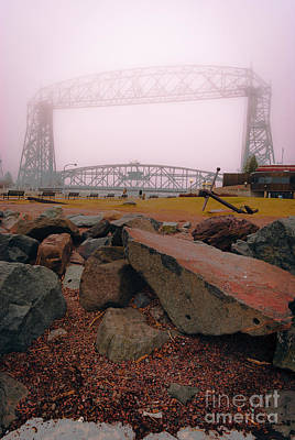 Photograph - Lift Bridge In Spring Fog by Mark David Zahn