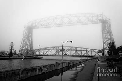 Photograph - Lift Bridge Silver Fog by Mark David Zahn