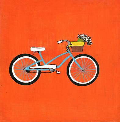 Girl On Bike Painting - Light Blue Bike With Daisies In A Basket by Michele Hino