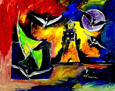 Artist Singh Painting - Light House  by Artist Singh