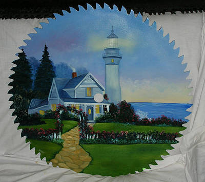 Saw Blades Painting - Light House By The Sea by Darlene Prowell