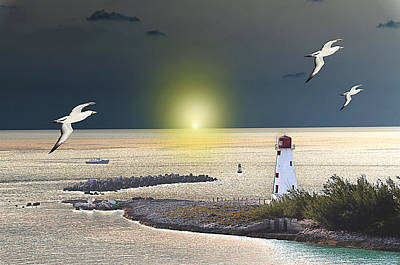 Photograph - Light House On The Bay by Allan Rothman