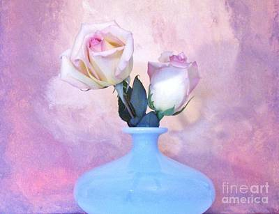 Histogram Photograph - Light Pink Tipped Roses by Marsha Heiken