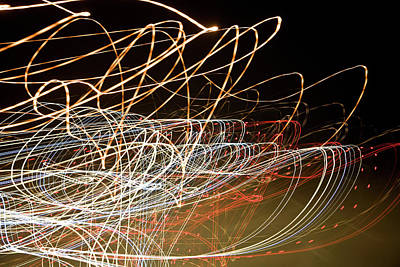 Light Trails At Night Art Print