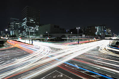 Light Trails On Road Art Print by Photography by Shin.T