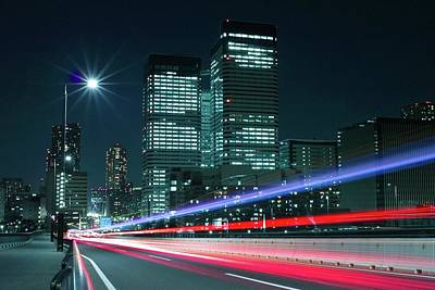 Light Trails On The Street In Tokyo Art Print by >>>>sample Image>>>>>>>>>>>>>>