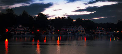 Rowing Crew Digital Art - Lighted Boathouse Row by Bill Cannon