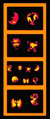 Lighted Jack-o-lanterns Tetraptych Art Print by Steve Ohlsen