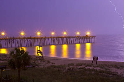 Royalty-Free and Rights-Managed Images - Lightning Strike at Kure Beach by Betsy Knapp