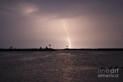 Water Photograph - Lightening Striking Water At Night Near Harbor In New Buffalo by Christopher Purcell