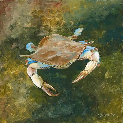 Lighter Blue Crab Art Print by John Brown