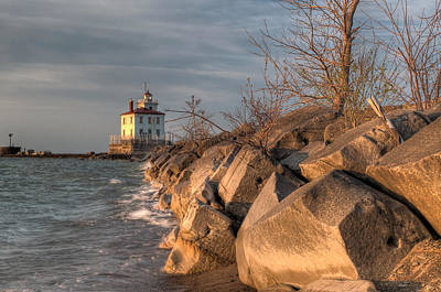 Lighthouse And Breakwall In Evening Light Art Print by At Lands End Photography