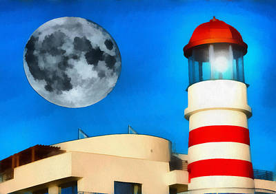 Lighthouse And Moon Print by Odon Czintos