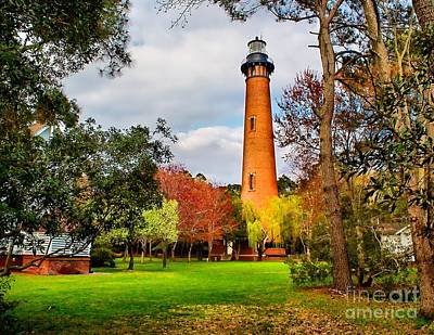 Lighthouse At Currituck Beach Art Print by Nick Zelinsky