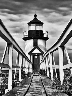 Ocean. Stained Glass Ocean Photograph - Lighthouse At Nantucket Island I - Black And White by Hideaki Sakurai