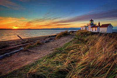 Lighthouse At Sunset Art Print by Photo by David R irons Jr
