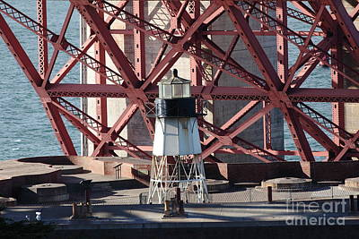 Lighthouse Atop Fort Point Next To The San Francisco Golden Gate Bridge - 5d19001 Art Print by Wingsdomain Art and Photography