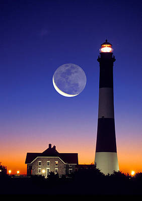 Lighthouse Crescent Moon Art Print