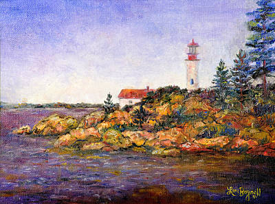 New England Lighthouse Painting - Lighthouse by Lou Ann Bagnall
