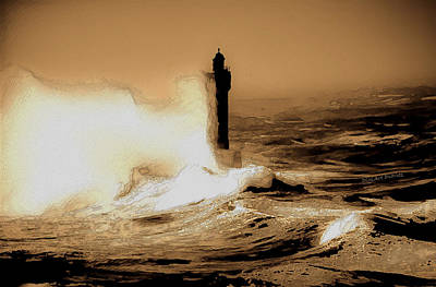 Sepia Ink Photograph - Lighthouse Of The Sea by DigiArt Diaries by Vicky B Fuller