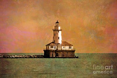 Lake Michigan Digital Art - Lighthouse Off Navy Pier by Mary Machare