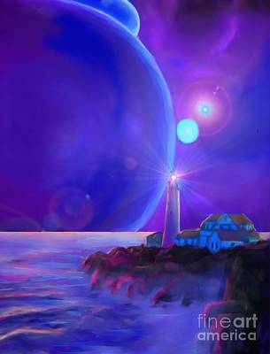 Mayan Painting - Lighthouse On The Galactic Plane by Earl Jackson