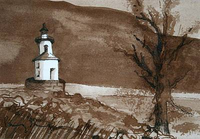 Lighthouse On Wisconsin Point Art Print