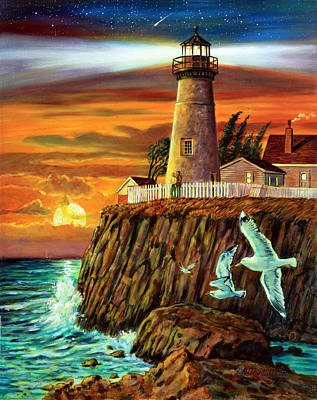 Painting - Lighthouse Sunset by John Lautermilch