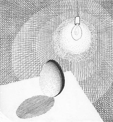 Drawing - Lighting By Egg by Phil Burns