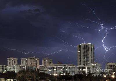Striking Photograph - Lightning Bolt In Sky by Blink Images