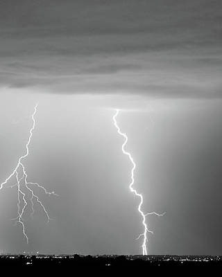 Storms Photograph - Lightning Bolt With A Fork Bw by James BO  Insogna