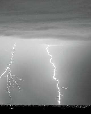 Lightning Bolt Photograph - Lightning Bolt With A Fork Bw by James BO  Insogna