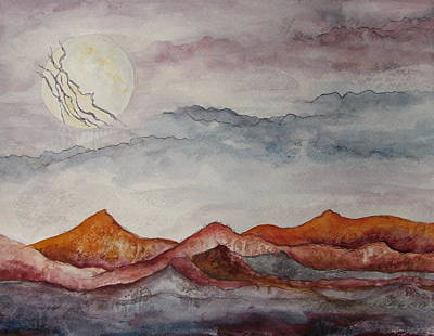 Painting - Lightning Moon by Lesley Atlansky