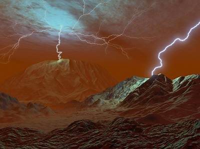 Venus Surface Photograph - Lightning On Venus, Artwork by Walter Myers