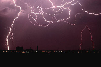 Lightning Over City Art Print