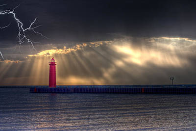 Lightning Over Muskegon Lighthouse Original by Jeramie Curtice