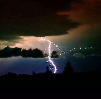 Lightning Over The Plains I Art Print by Ellen Heaverlo