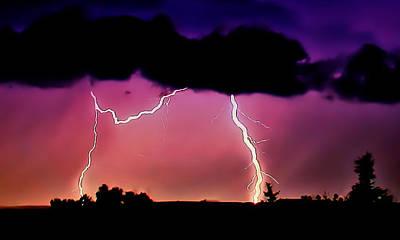 Lightning Over The Plains II Art Print by Ellen Heaverlo