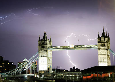 Lightning Photograph - Lightning Over Tower Bridge, London by All images licensed by Craig Allen