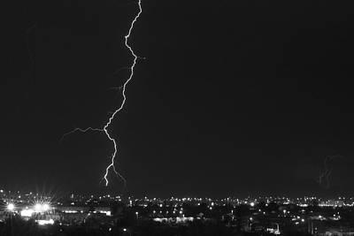 Lightnings Of Arizona Photograph - Lightning Over Tucson 2 Bw by Bill Eggert