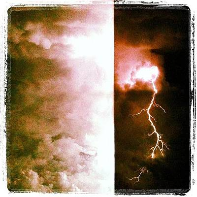 Lightning Storm Monkey Face At Thirty Six Thousand Ft. Central Africa Art Print