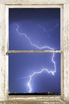 Lightning Strike White Barn Picture Window Frame Photo Art  Art Print by James BO  Insogna
