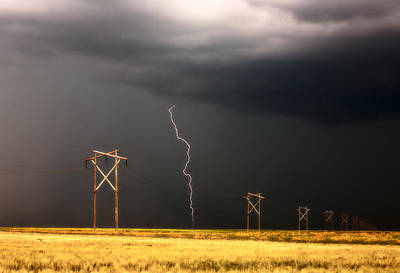 Lightning Striking Behind Saskatchewan Power Line Art Print by Mark Duffy