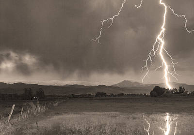 Lightning Striking Longs Peak Foothills 5bw Sepia Art Print